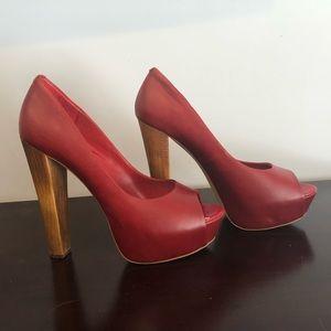 Steve Madden platform heels, dark red